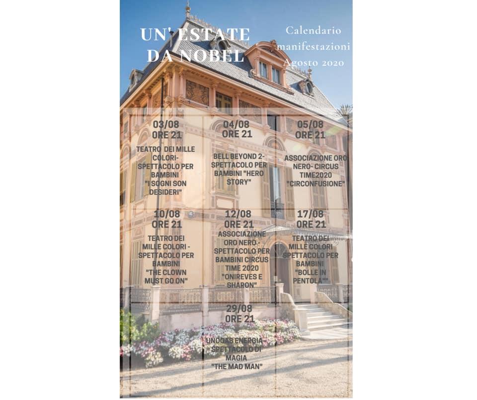 Villa Nobel: calendario agosto